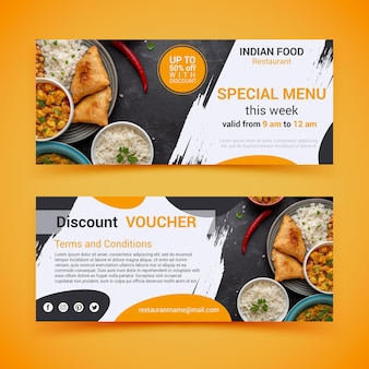 Gift voucher template with photo and food