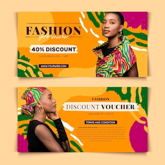 Gift voucher template with photo and woman