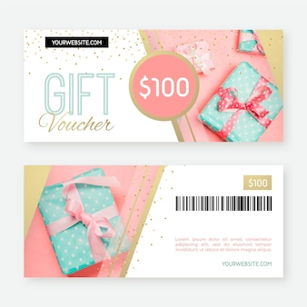 Gift voucher template with presents photo