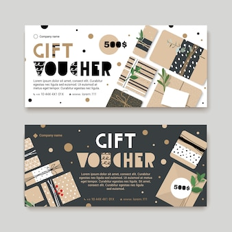 Gift voucher template with presents