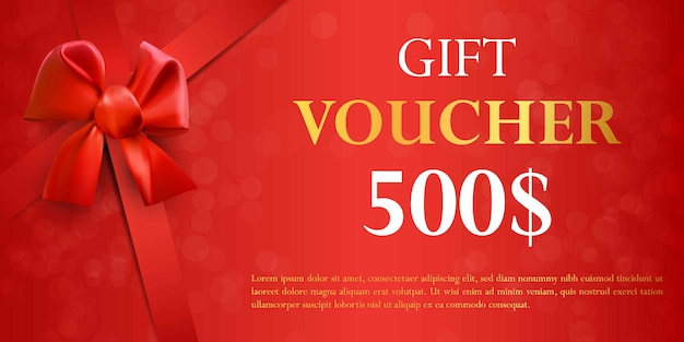 Gift voucher template with red bow.