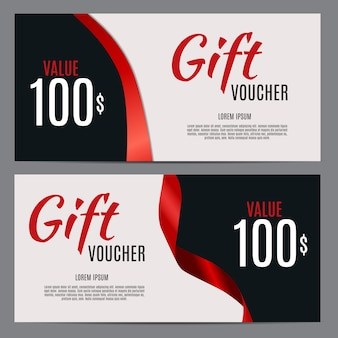 Gift voucher template with ribbon background.  illustration
