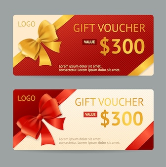 Gift voucher template with ribbon and a bow.