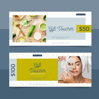 Gift voucher template with spa photo