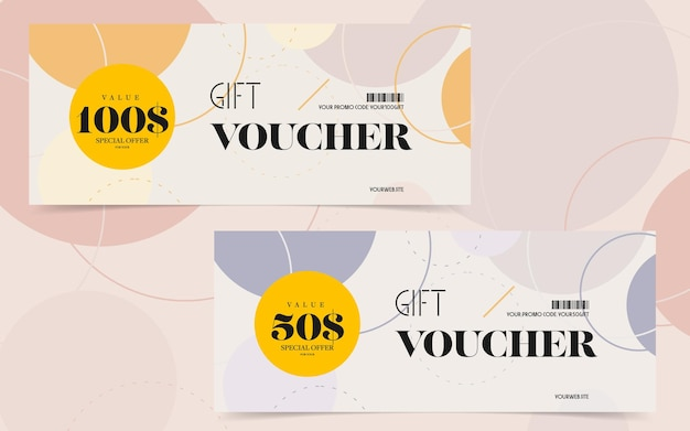 Gift voucher template with special offer for online shopping.
