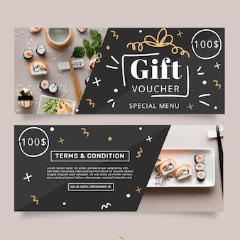 Gift voucher template with sushi photo