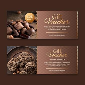 Modello del buono regalo con foto di dolci