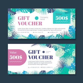 Gift voucher template with tropical leaves