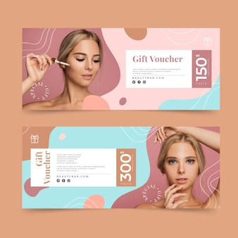 Gift voucher template with woman photo