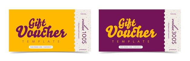 Gift voucher ticket card with different monetary value. discount coupon template