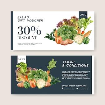 ギフト券野菜水彩絵の具コレクション。生鮮食品有機健康イラスト