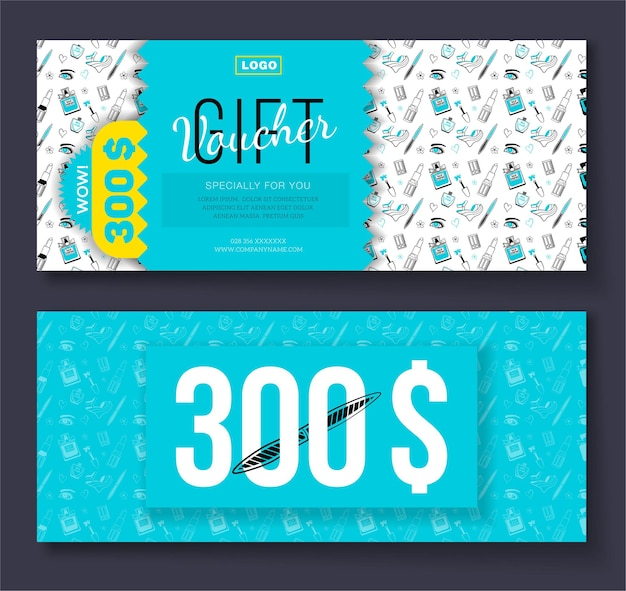 Gift voucher with cosmetic icons ornament background for boutique, beauty salon, spa, fashion, flyer.