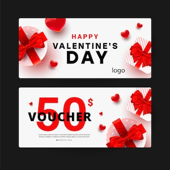 Gift voucher with discount template with realistic surprise gift boxes, love shape decor.