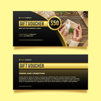 Gift voucher with discount template Free Vector