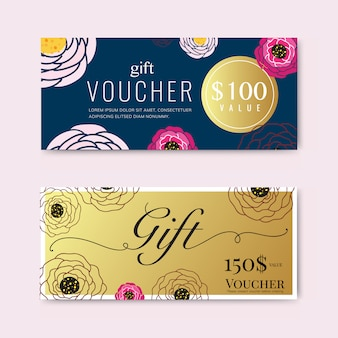 Gift voucher with flower  and gold template