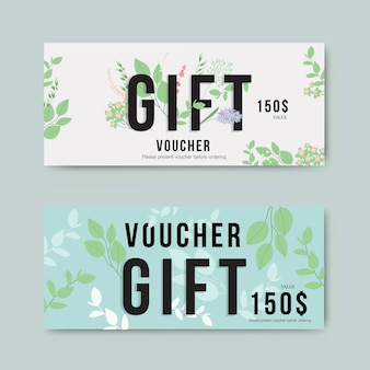 Gift voucher with gold flower