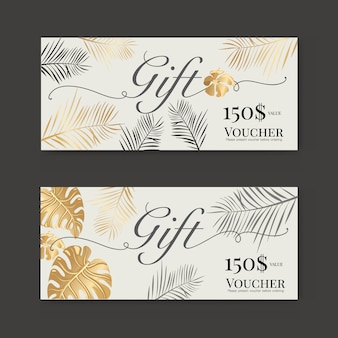 Gift voucher with gold tropical leaf