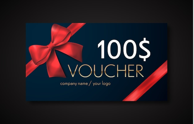 Gift voucher with red ribbon and bow