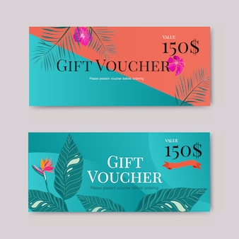 Gift voucher with tropical leaf