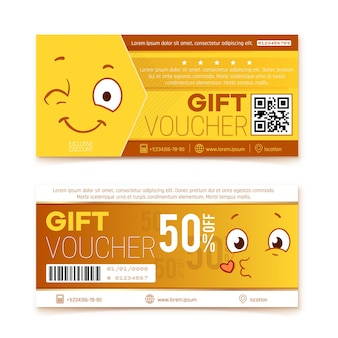 Gift vouchers. happy smile coupon, promo code ticket. shopping discount banner with japan style faces. kawaii design offer specials deal  templates. japan coupon discount, voucher illustration