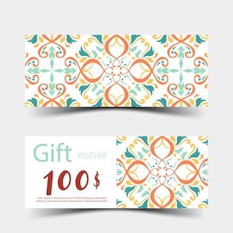 ギフト券は、白い背景の上のカラフルなデザインを設定しますベクトルイラストeps10