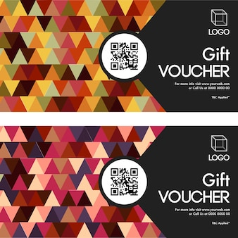 Gift vouchers set in two colors option.