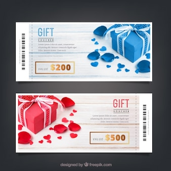 Gift vouchers templates with golden details