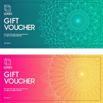 Gift vouchers with mandala design in two colors options.