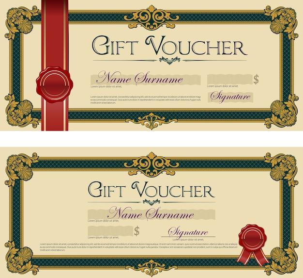 Подарочные сертификаты с украшениями. набор из двух старинных подарочных сертификатов.