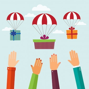 Gift with parachute flying in the sky