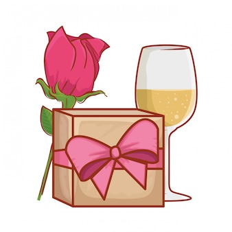 Gift with rose and wine cup