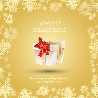 Gift wrapped with gold ribbons and a red bow against the snow. festive greeting card for christmas and new year