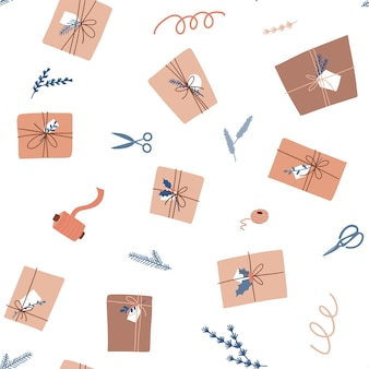 Gift wrapping seamless pattern branches scissors ribbon rope and craft eco paper on white background...