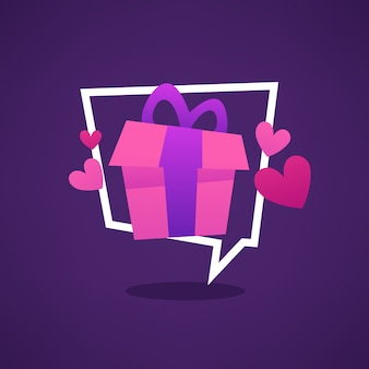 Gift for you, web banner looks like a speech bubble with present box