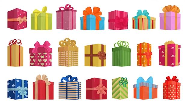 Giftbox cartoon  set illustration of icon.isolated collection illustration cartoon of box gift on white background. set icon of giftbox for present . Premium Vector