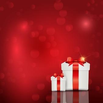 Красный фон с giftboxes