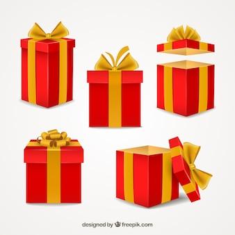 Красный giftboxes коллекция