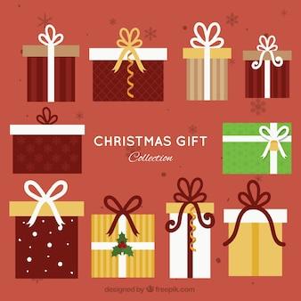 Квартира рождество giftboxes с луками коллекция
