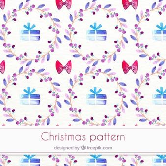 Акварельный узор рождество с giftboxes