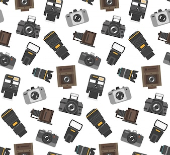 Gifts and gear for photographers wrap paper seamless pattern with modern and retro camera