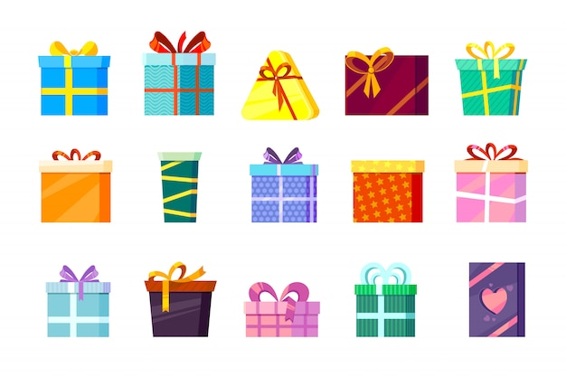 Gifts boxes. colored xmas valentine and other celebrations presents surprise birthday shopping box with ribbons and bows