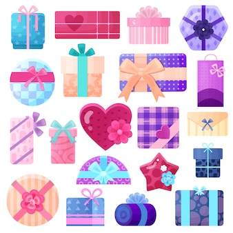 Gifts boxes and packages set for birthdays and other holidays flat isolated