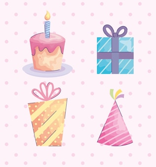 Подарочные коробки представляют дизайн иллюстрации значков дня рождения acuarela