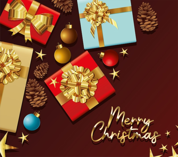 Gifts boxes with merry christmas lettering  illustration