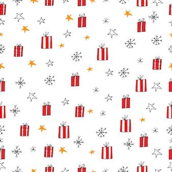 Подарки ярко красные коробки снежинки и звезды векторные иллюстрации бесшовные модели новый год рождество