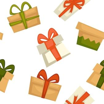 休日や挨拶のためのギフト、装飾的なリボンの弓でプレゼントのシームレスなパターン。サプライズ、クリスマスまたは新年、クリスマスまたは誕生日のボックス。バレンタインや記念日。フラットスタイルのベクトル