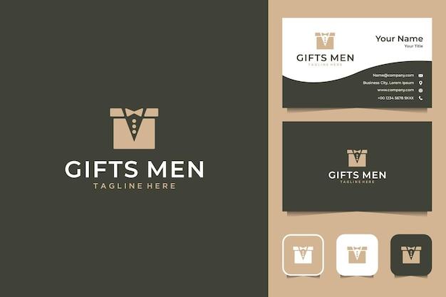 상자 및 정장 로고 디자인 및 명함이있는 남성용 선물