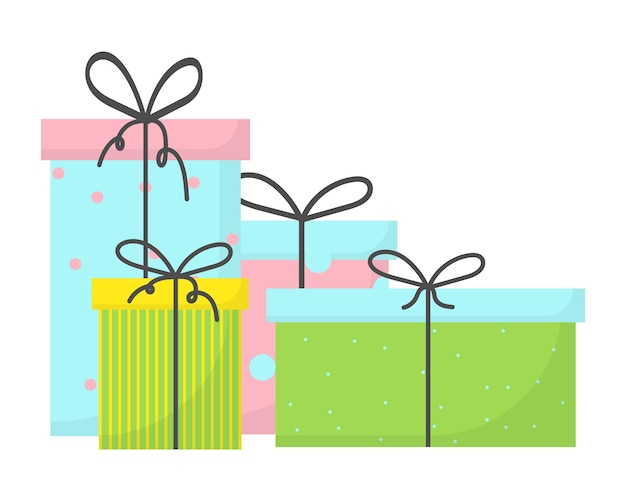 Подарки к празднику цветные коробки с подарками