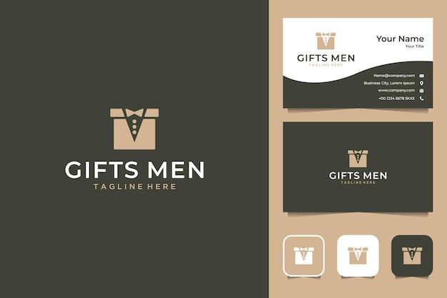 Gifts for men with box and suit logo design and business card