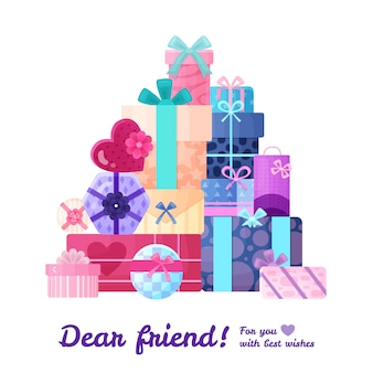 Gifts presents heart round square and rectangular shaped boxes packages in beautiful wrappings flat composition